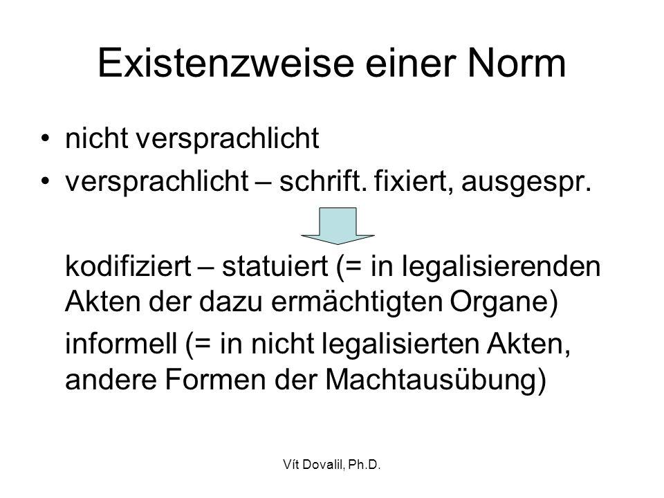 Vít Dovalil, Ph.D.Existenzweise einer Norm nicht versprachlicht versprachlicht – schrift.