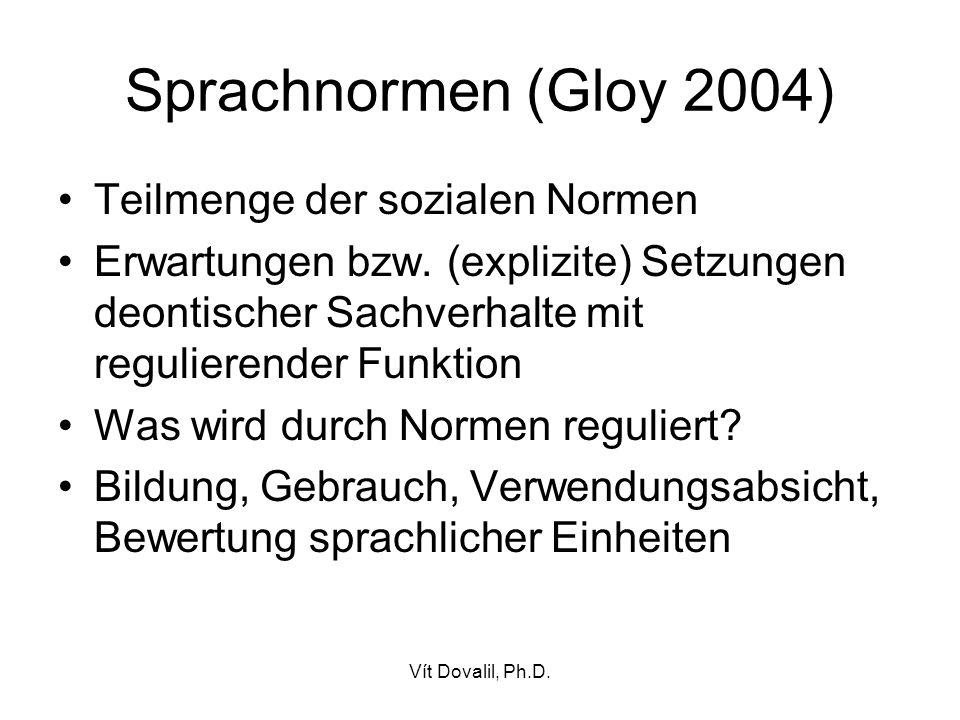 Vít Dovalil, Ph.D.Sprachnormen (Gloy 2004) Teilmenge der sozialen Normen Erwartungen bzw.