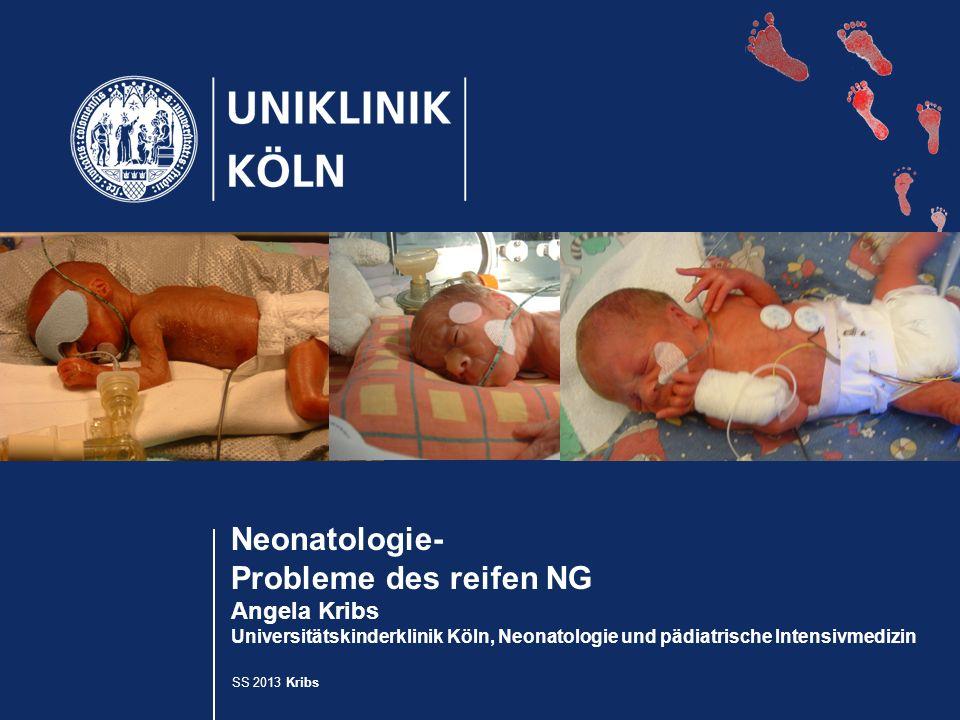 SS 2013 Kribs Neonatologie- Probleme des reifen NG Angela Kribs Universitätskinderklinik Köln, Neonatologie und pädiatrische Intensivmedizin