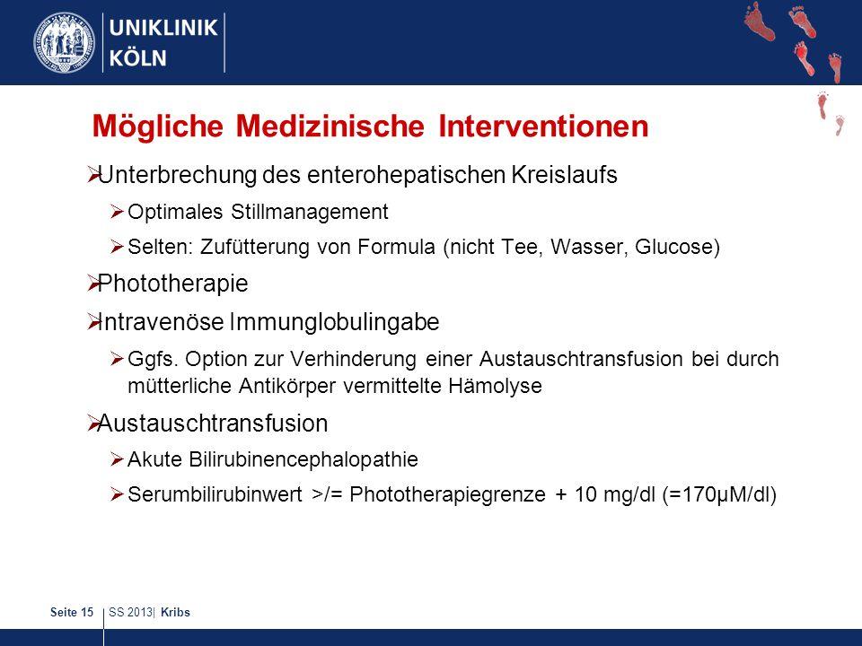 SS 2013| KribsSeite 15 Mögliche Medizinische Interventionen Unterbrechung des enterohepatischen Kreislaufs Optimales Stillmanagement Selten: Zufütteru