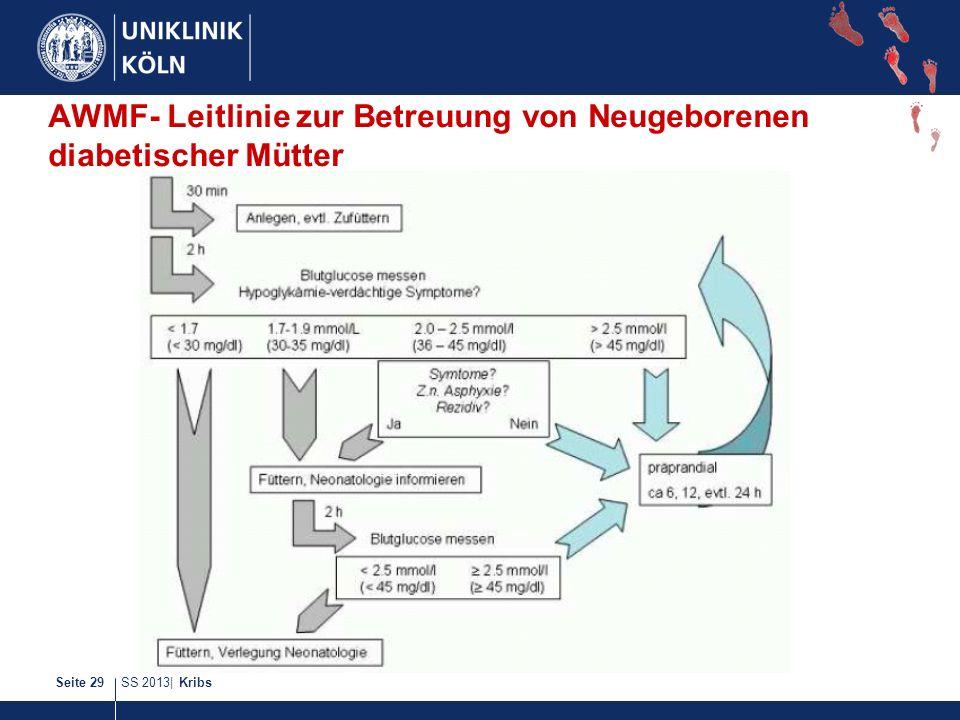 SS 2013| KribsSeite 29 AWMF- Leitlinie zur Betreuung von Neugeborenen diabetischer Mütter
