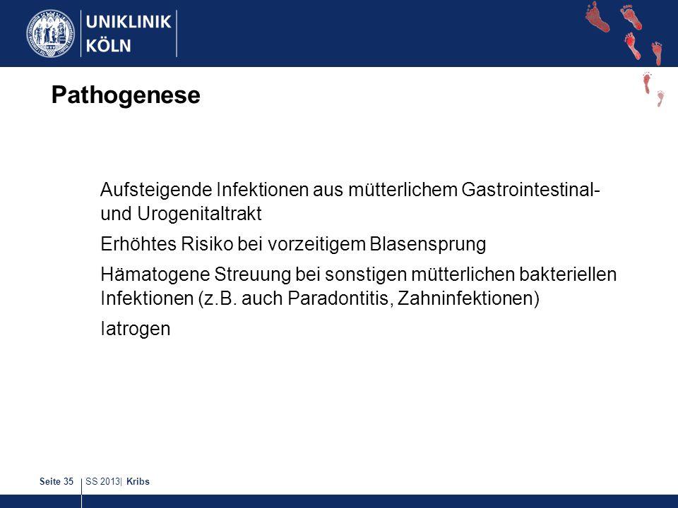 SS 2013| KribsSeite 35 Pathogenese Aufsteigende Infektionen aus mütterlichem Gastrointestinal- und Urogenitaltrakt Erhöhtes Risiko bei vorzeitigem Bla