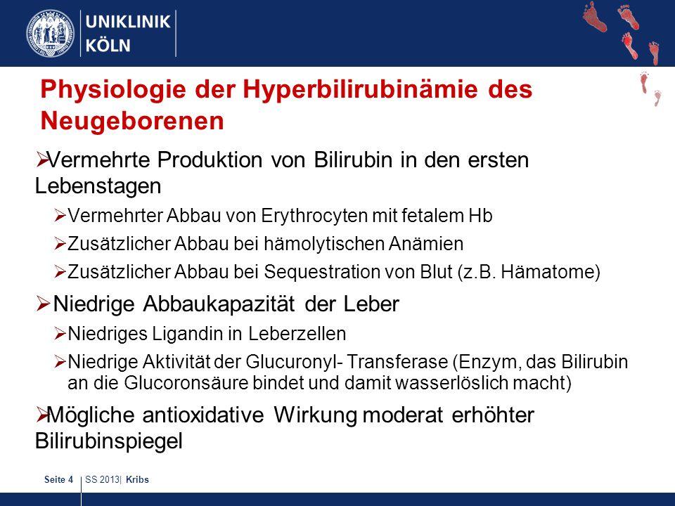 SS 2013| KribsSeite 4 Physiologie der Hyperbilirubinämie des Neugeborenen Vermehrte Produktion von Bilirubin in den ersten Lebenstagen Vermehrter Abba