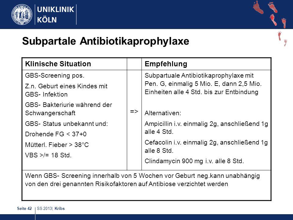 SS 2013| KribsSeite 42 Subpartale Antibiotikaprophylaxe Klinische SituationEmpfehlung GBS-Screening pos. Z.n. Geburt eines Kindes mit GBS- Infektion G