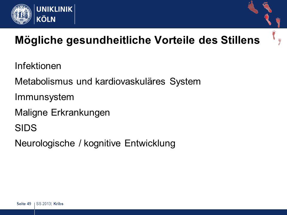 SS 2013| KribsSeite 49 Mögliche gesundheitliche Vorteile des Stillens Infektionen Metabolismus und kardiovaskuläres System Immunsystem Maligne Erkrank