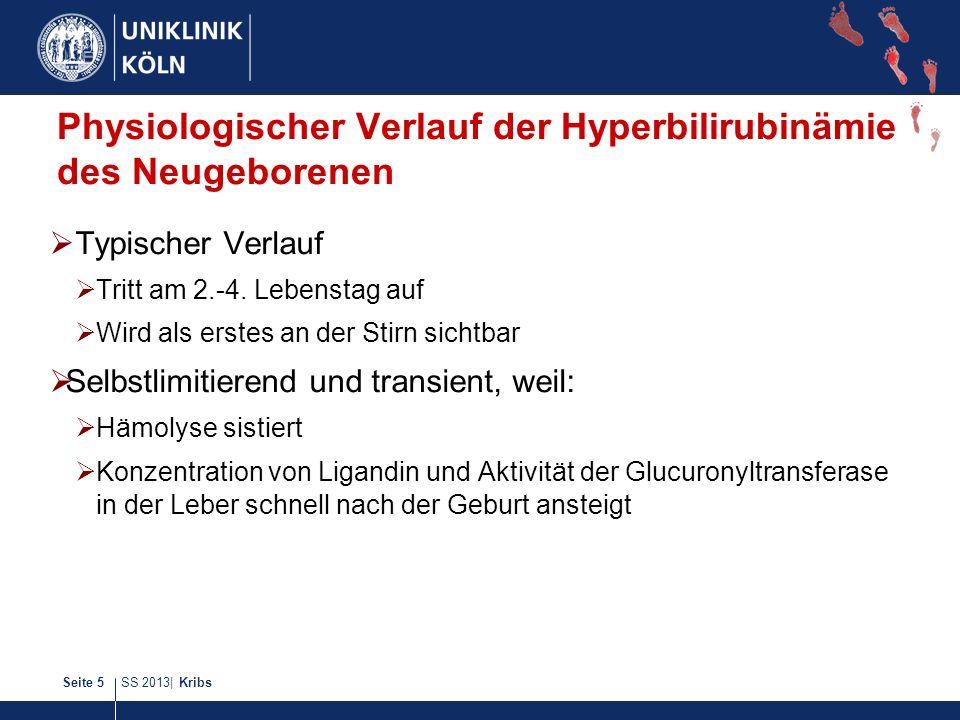 SS 2013| KribsSeite 5 Physiologischer Verlauf der Hyperbilirubinämie des Neugeborenen Typischer Verlauf Tritt am 2.-4. Lebenstag auf Wird als erstes a