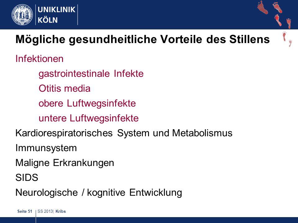 SS 2013| KribsSeite 51 Mögliche gesundheitliche Vorteile des Stillens Infektionen gastrointestinale Infekte Otitis media obere Luftwegsinfekte untere