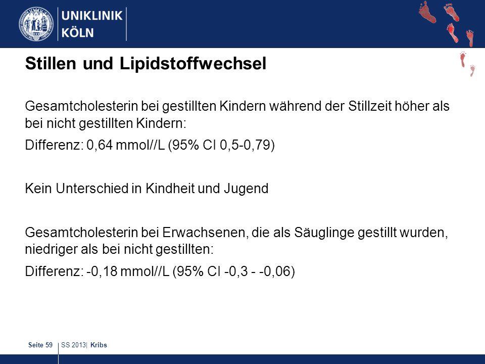 SS 2013| KribsSeite 59 Stillen und Lipidstoffwechsel Gesamtcholesterin bei gestillten Kindern während der Stillzeit höher als bei nicht gestillten Kin