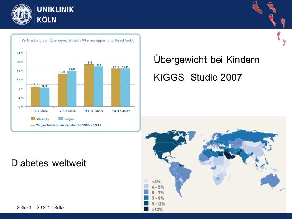 SS 2013| KribsSeite 61 Übergewicht bei Kindern KIGGS- Studie 2007 Diabetes weltweit