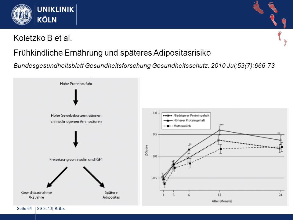 SS 2013| KribsSeite 64 Koletzko B et al. Frühkindliche Ernährung und späteres Adipositasrisiko Bundesgesundheitsblatt Gesundheitsforschung Gesundheits