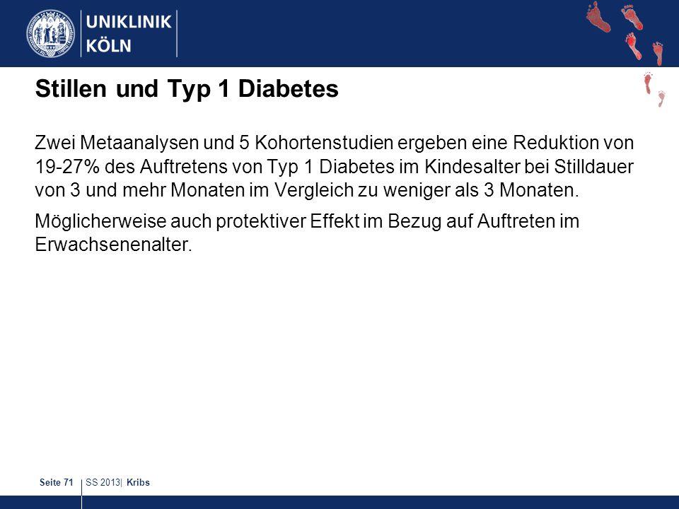 SS 2013| KribsSeite 71 Stillen und Typ 1 Diabetes Zwei Metaanalysen und 5 Kohortenstudien ergeben eine Reduktion von 19-27% des Auftretens von Typ 1 D