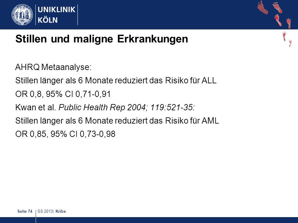 SS 2013| KribsSeite 74 Stillen und maligne Erkrankungen AHRQ Metaanalyse: Stillen länger als 6 Monate reduziert das Risiko für ALL OR 0,8, 95% CI 0,71