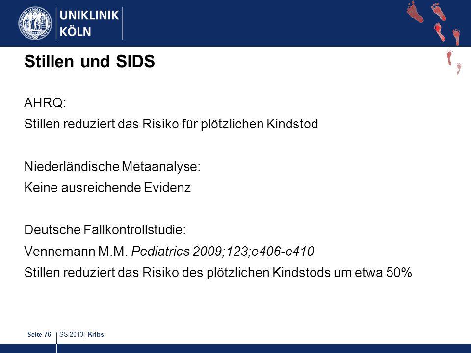 SS 2013| KribsSeite 76 Stillen und SIDS AHRQ: Stillen reduziert das Risiko für plötzlichen Kindstod Niederländische Metaanalyse: Keine ausreichende Ev