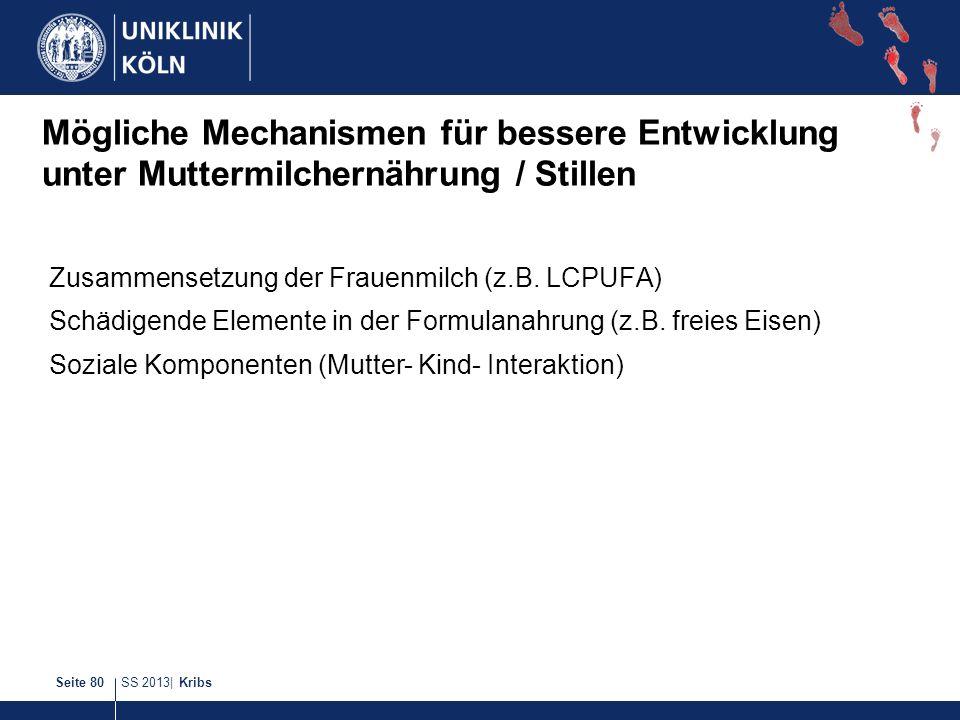 SS 2013| KribsSeite 80 Mögliche Mechanismen für bessere Entwicklung unter Muttermilchernährung / Stillen Zusammensetzung der Frauenmilch (z.B. LCPUFA)
