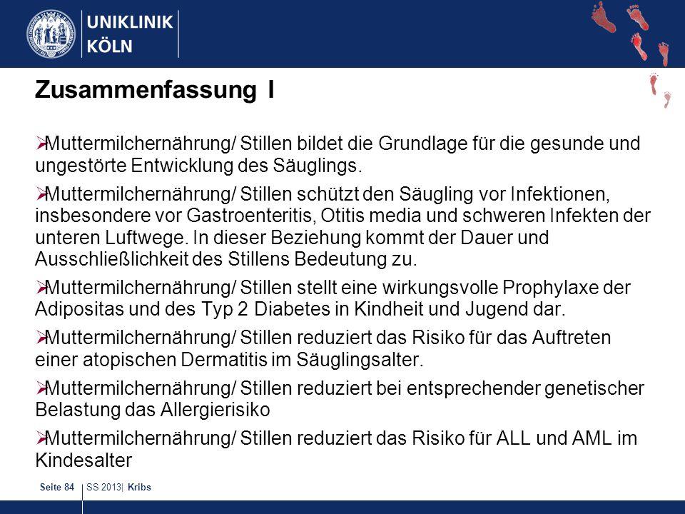 SS 2013| KribsSeite 84 Zusammenfassung I Muttermilchernährung/ Stillen bildet die Grundlage für die gesunde und ungestörte Entwicklung des Säuglings.