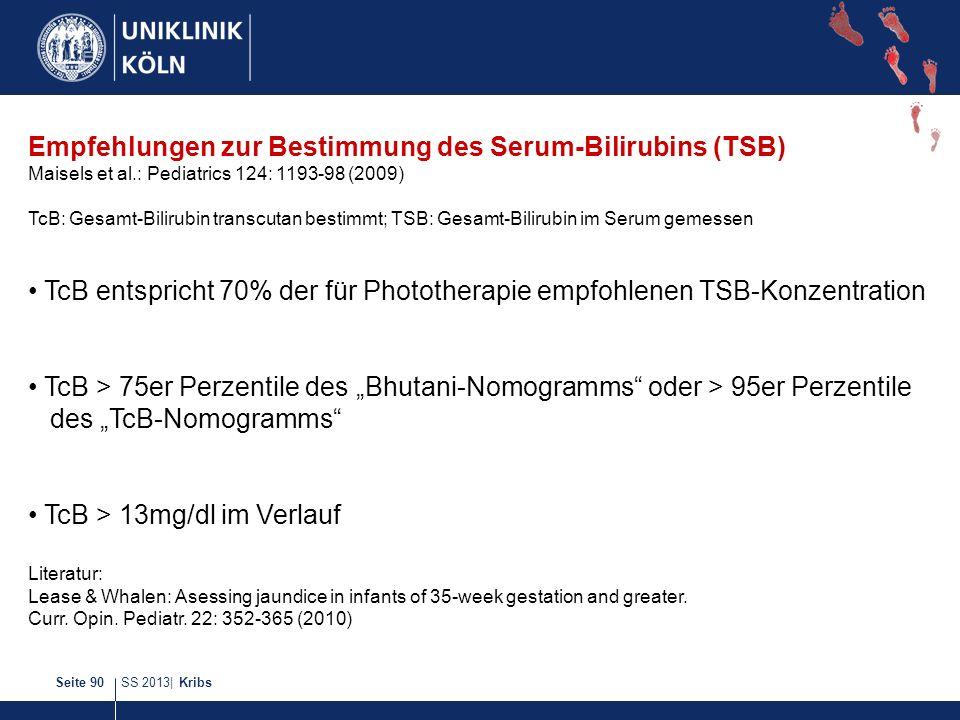 SS 2013| KribsSeite 90 Empfehlungen zur Bestimmung des Serum-Bilirubins (TSB) Maisels et al.: Pediatrics 124: 1193-98 (2009) TcB: Gesamt-Bilirubin tra