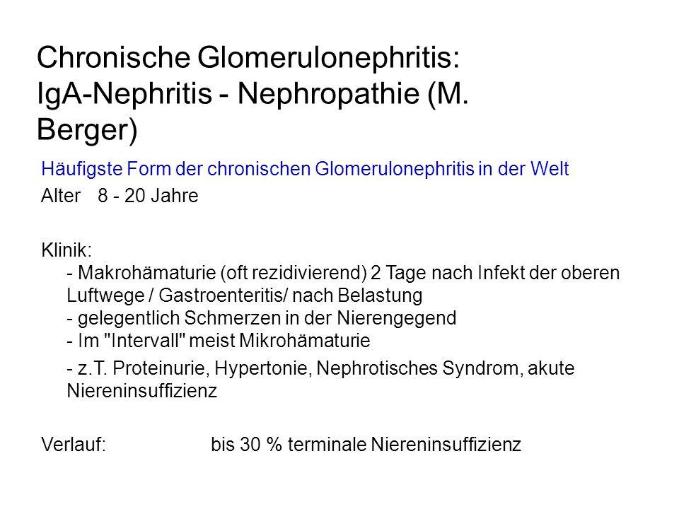 Chronische Glomerulonephritis: IgA-Nephritis - Nephropathie (M. Berger) Häufigste Form der chronischen Glomerulonephritis in der Welt Alter8 - 20 Jahr