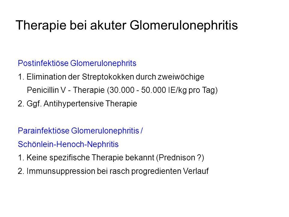Therapie bei akuter Glomerulonephritis Postinfektiöse Glomerulonephrits 1. Elimination der Streptokokken durch zweiwöchige Penicillin V - Therapie (30