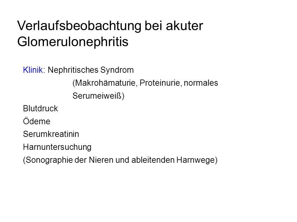 Verlaufsbeobachtung bei akuter Glomerulonephritis Klinik: Nephritisches Syndrom (Makrohämaturie, Proteinurie, normales Serumeiweiß) Blutdruck Ödeme Se