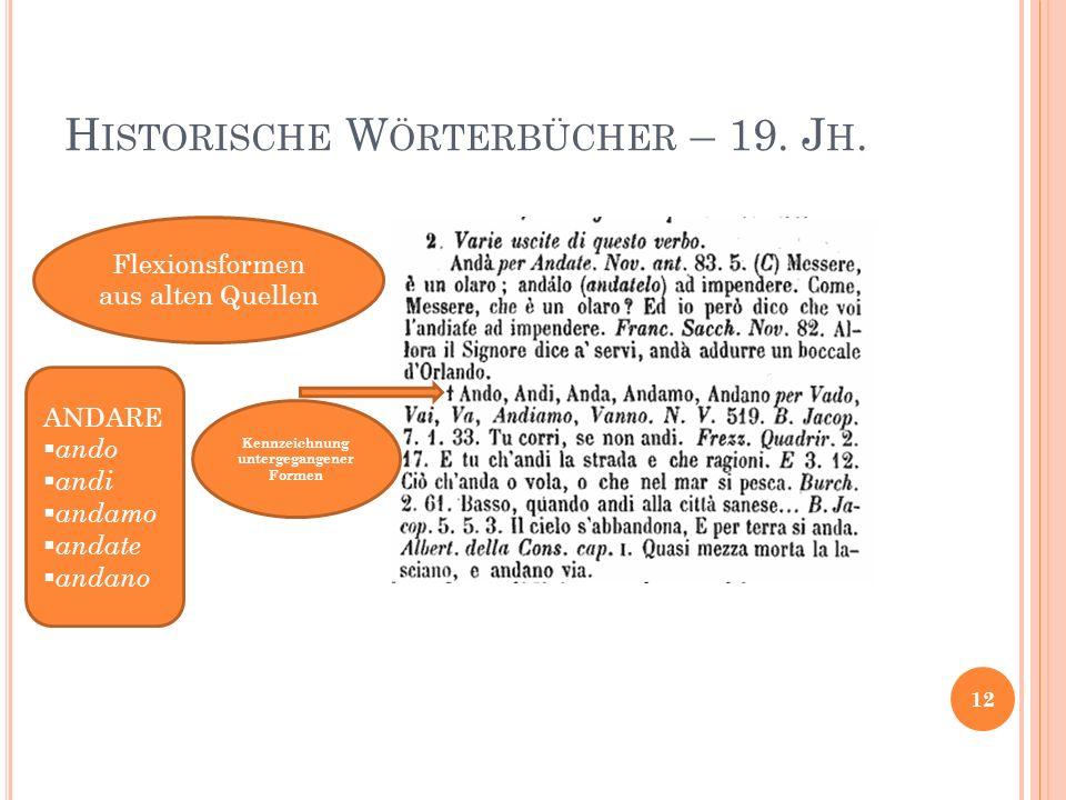 H ISTORISCHE W ÖRTERBÜCHER – 19. J H. Flexionsformen aus alten Quellen ANDARE ando andi andamo andate andano Kennzeichnung untergegangener Formen 12