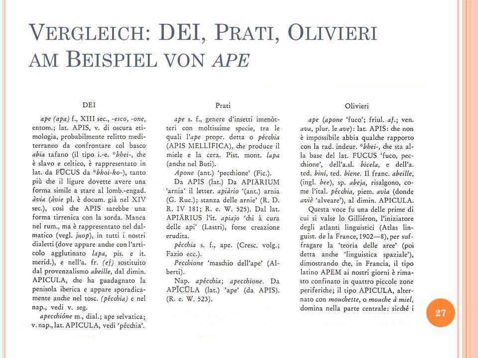 V ERGLEICH : DEI, P RATI, O LIVIERI AM B EISPIEL VON APE 27