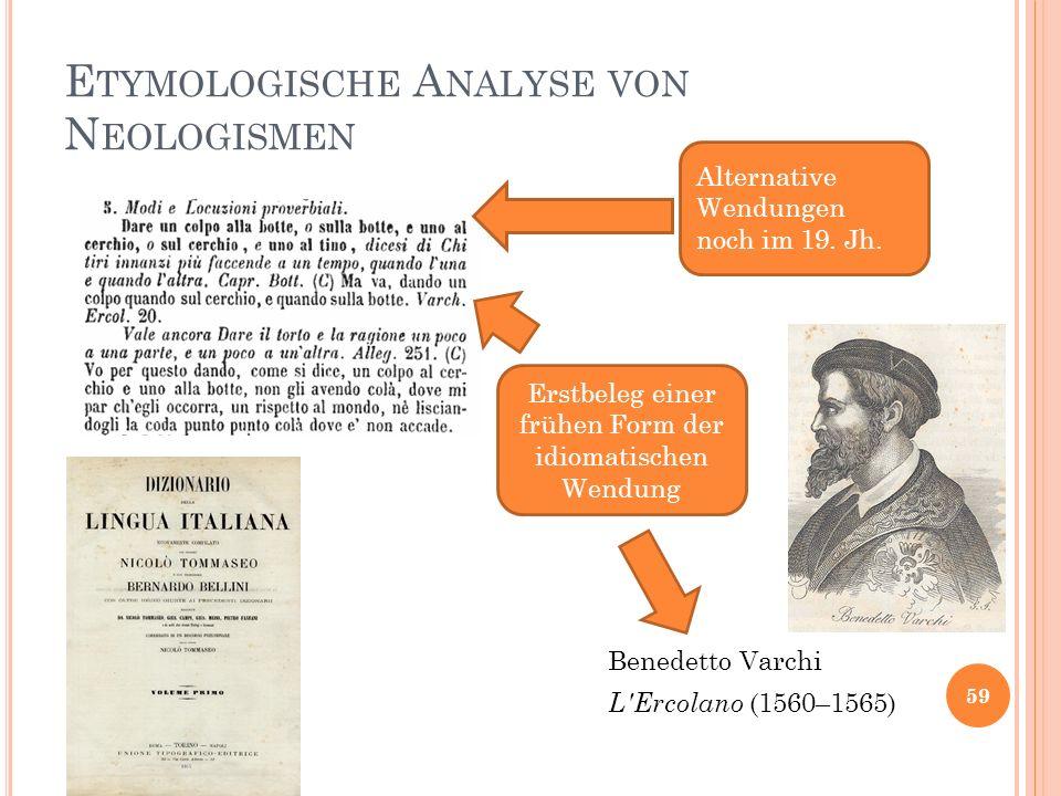 E TYMOLOGISCHE A NALYSE VON N EOLOGISMEN 59 L'Ercolano (1560–1565) Alternative Wendungen noch im 19. Jh. Benedetto Varchi Erstbeleg einer frühen Form