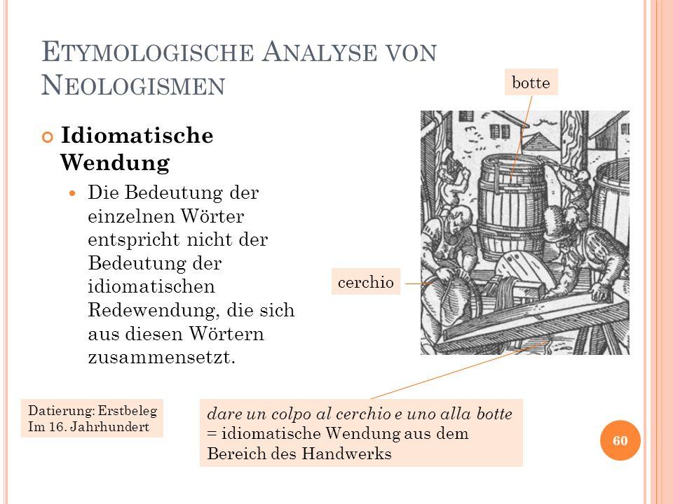 E TYMOLOGISCHE A NALYSE VON N EOLOGISMEN 60 Idiomatische Wendung Die Bedeutung der einzelnen Wörter entspricht nicht der Bedeutung der idiomatischen R
