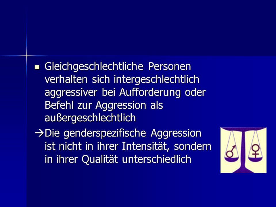 Gleichgeschlechtliche Personen verhalten sich intergeschlechtlich aggressiver bei Aufforderung oder Befehl zur Aggression als außergeschlechtlich Glei