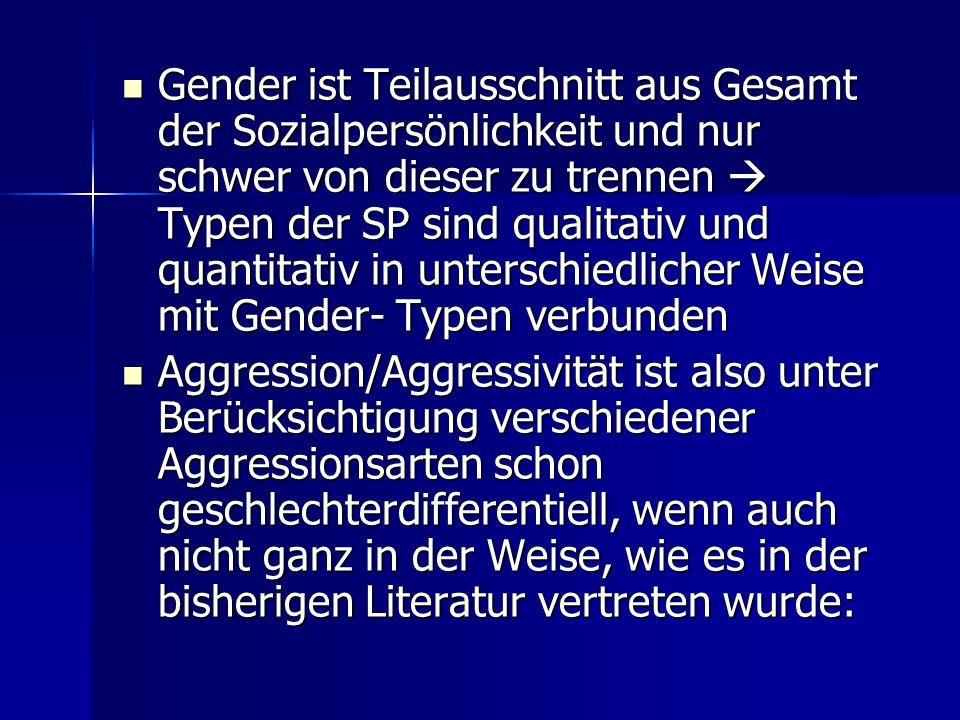 Gender ist Teilausschnitt aus Gesamt der Sozialpersönlichkeit und nur schwer von dieser zu trennen Typen der SP sind qualitativ und quantitativ in unt