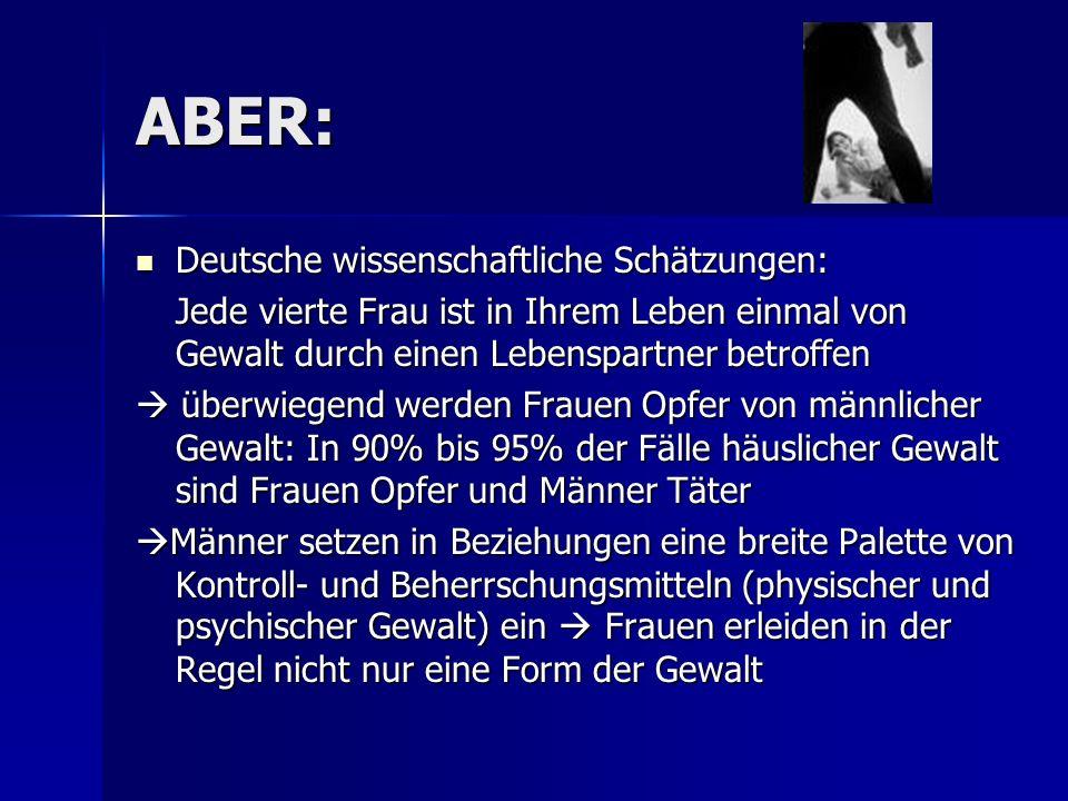 ABER: Deutsche wissenschaftliche Schätzungen: Deutsche wissenschaftliche Schätzungen: Jede vierte Frau ist in Ihrem Leben einmal von Gewalt durch eine