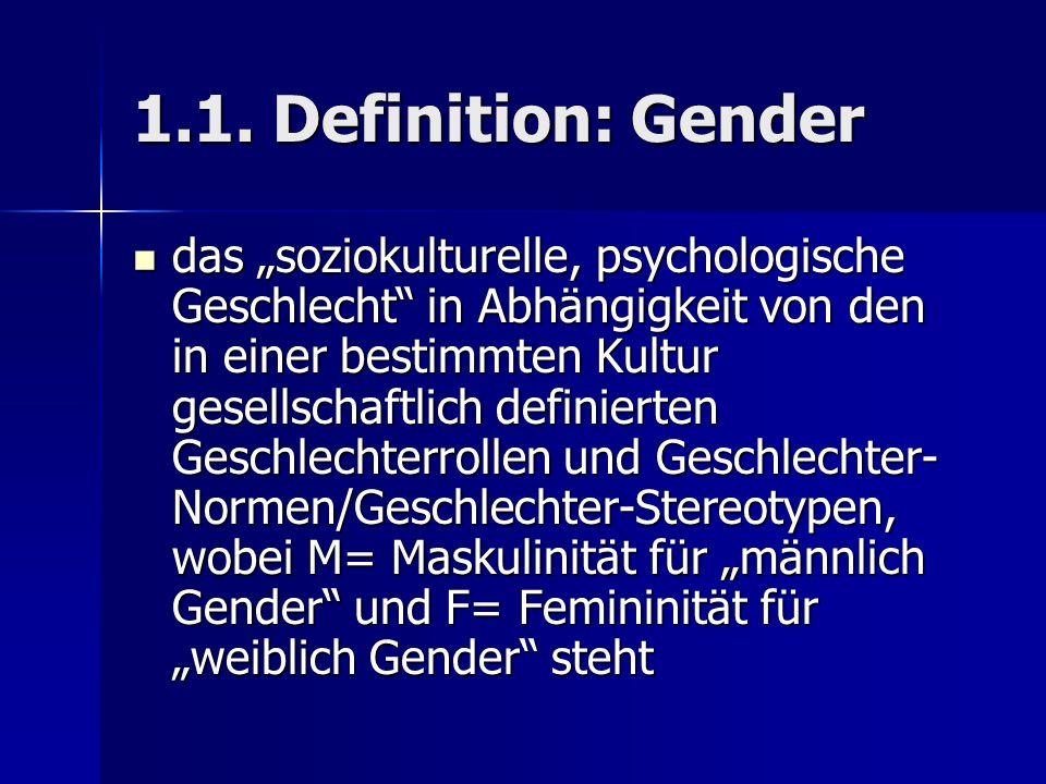 1.1. Definition: Gender das soziokulturelle, psychologische Geschlecht in Abhängigkeit von den in einer bestimmten Kultur gesellschaftlich definierten