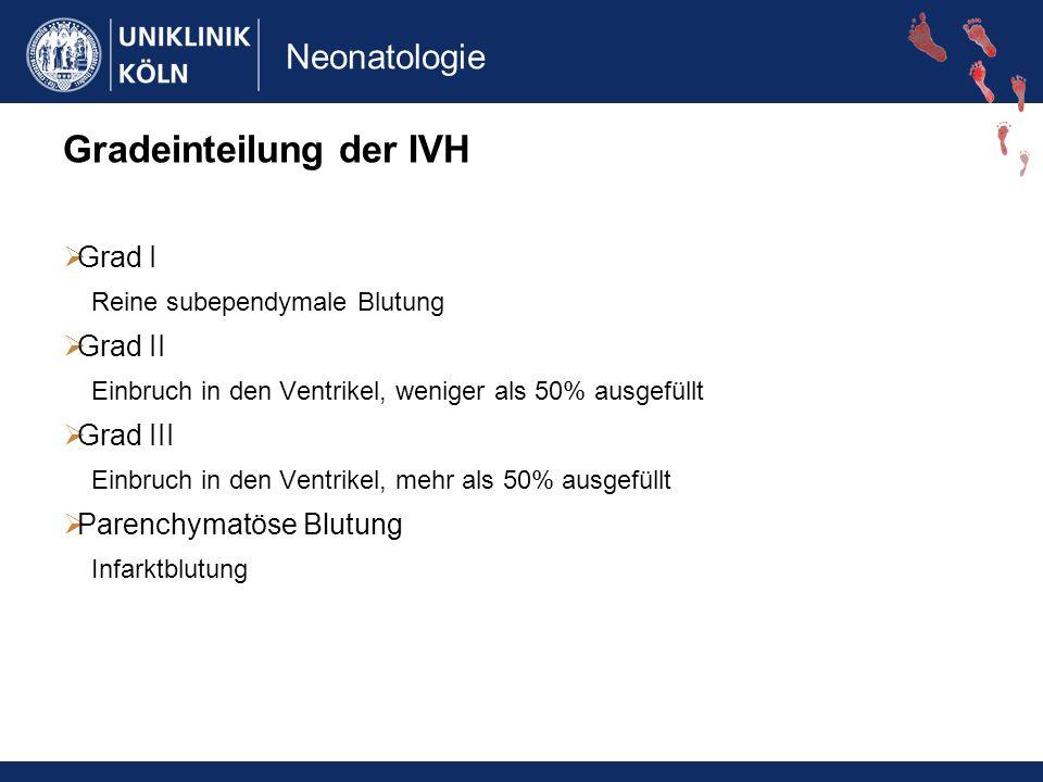 Gradeinteilung der IVH Grad I Reine subependymale Blutung Grad II Einbruch in den Ventrikel, weniger als 50% ausgefüllt Grad III Einbruch in den Ventrikel, mehr als 50% ausgefüllt Parenchymatöse Blutung Infarktblutung