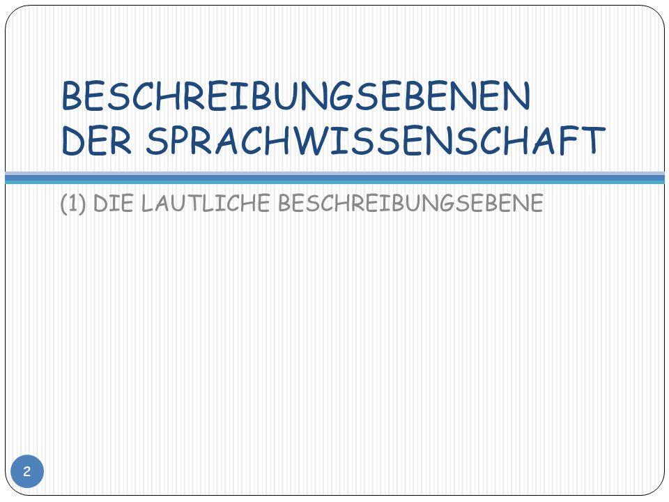 BESCHREIBUNGSEBENEN DER SPRACHWISSENSCHAFT (1) DIE LAUTLICHE BESCHREIBUNGSEBENE 2