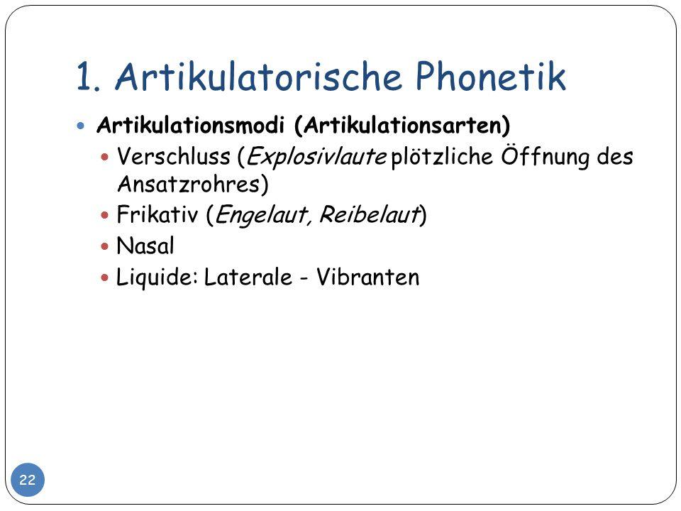 1. Artikulatorische Phonetik Artikulationsmodi (Artikulationsarten) Verschluss (Explosivlaute plötzliche Öffnung des Ansatzrohres) Frikativ (Engelaut,