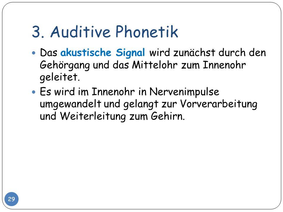 3. Auditive Phonetik 29 Das akustische Signal wird zunächst durch den Gehörgang und das Mittelohr zum Innenohr geleitet. Es wird im Innenohr in Nerven