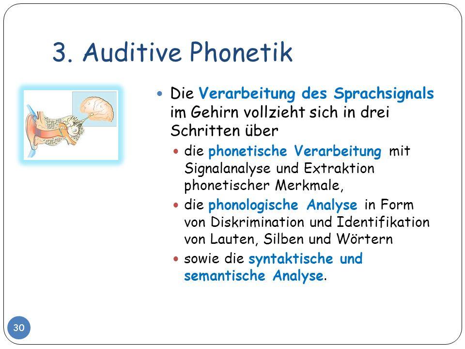 3. Auditive Phonetik 30 Die Verarbeitung des Sprachsignals im Gehirn vollzieht sich in drei Schritten über die phonetische Verarbeitung mit Signalanal