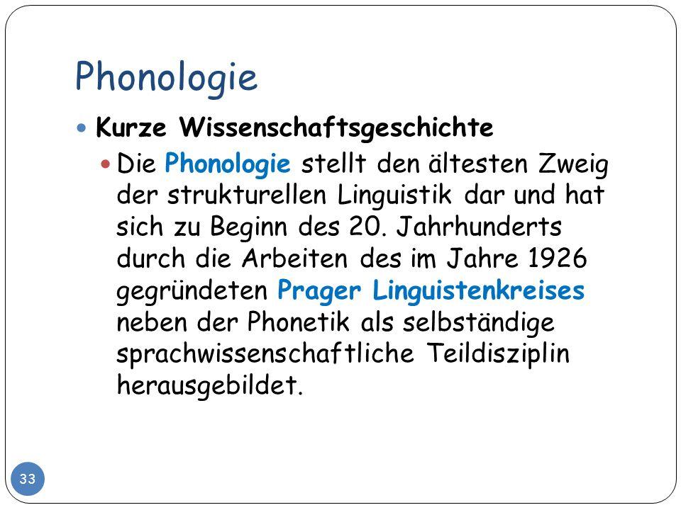 Phonologie 33 Kurze Wissenschaftsgeschichte Die Phonologie stellt den ältesten Zweig der strukturellen Linguistik dar und hat sich zu Beginn des 20. J