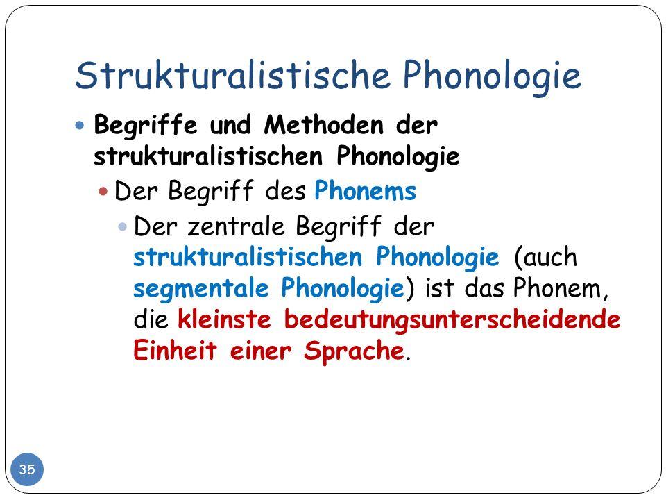 Strukturalistische Phonologie 35 Begriffe und Methoden der strukturalistischen Phonologie Der Begriff des Phonems Der zentrale Begriff der strukturali