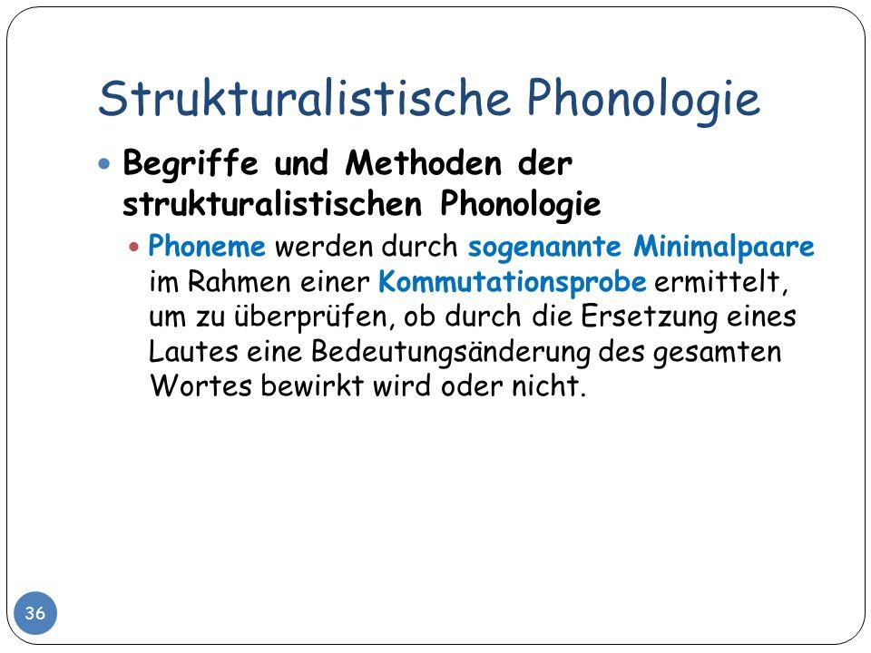 Strukturalistische Phonologie 36 Begriffe und Methoden der strukturalistischen Phonologie Phoneme werden durch sogenannte Minimalpaare im Rahmen einer