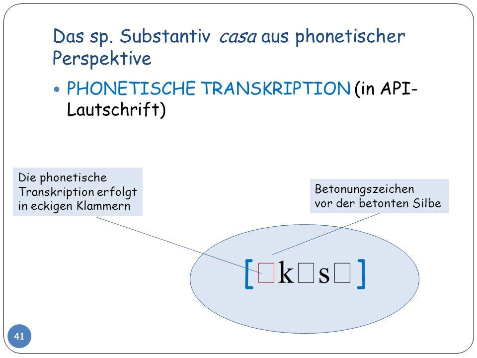 Das sp. Substantiv casa aus phonetischer Perspektive 41 PHONETISCHE TRANSKRIPTION (in API- Lautschrift) [ k s ] Die phonetische Transkription erfolgt