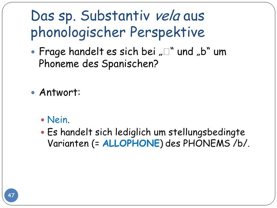 Das sp. Substantiv vela aus phonologischer Perspektive 47 Frage handelt es sich bei und b um Phoneme des Spanischen? Antwort: Nein. Es handelt sich le