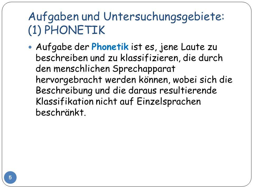 Aufgaben und Untersuchungsgebiete: (2) PHONOLOGIE 6 Die Phonologie hingegen befasst sich mit der Verwendung von Lauten in in Einzelsprachen.