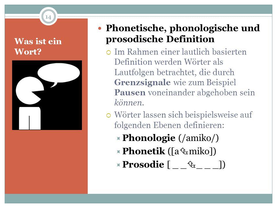 Was ist ein Wort? Phonetische, phonologische und prosodische Definition Im Rahmen einer lautlich basierten Definition werden Wörter als Lautfolgen bet
