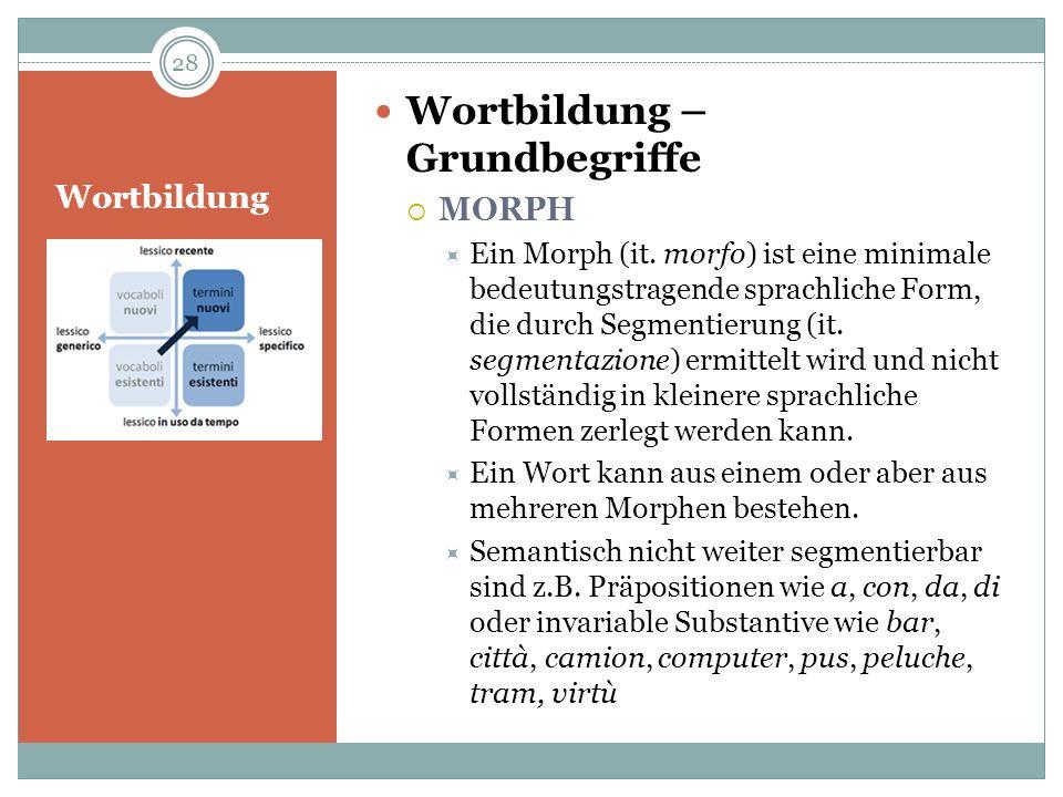 Wortbildung Wortbildung – Grundbegriffe MORPH Ein Morph (it. morfo) ist eine minimale bedeutungstragende sprachliche Form, die durch Segmentierung (it