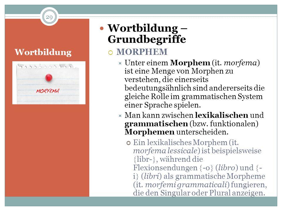 Wortbildung Wortbildung – Grundbegriffe MORPHEM Unter einem Morphem (it. morfema) ist eine Menge von Morphen zu verstehen, die einerseits bedeutungsäh