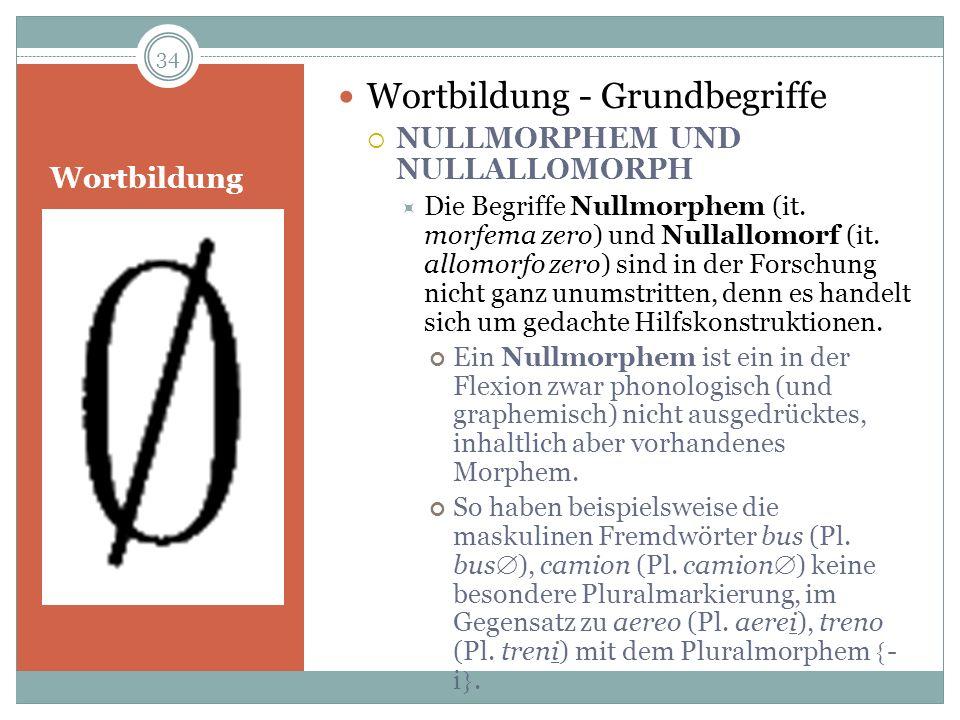 Wortbildung Wortbildung - Grundbegriffe NULLMORPHEM UND NULLALLOMORPH Die Begriffe Nullmorphem (it. morfema zero) und Nullallomorf (it. allomorfo zero