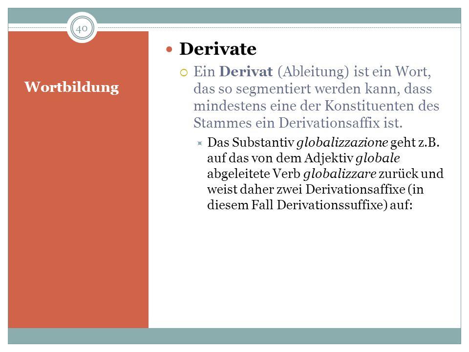 Wortbildung Derivate Ein Derivat (Ableitung) ist ein Wort, das so segmentiert werden kann, dass mindestens eine der Konstituenten des Stammes ein Deri