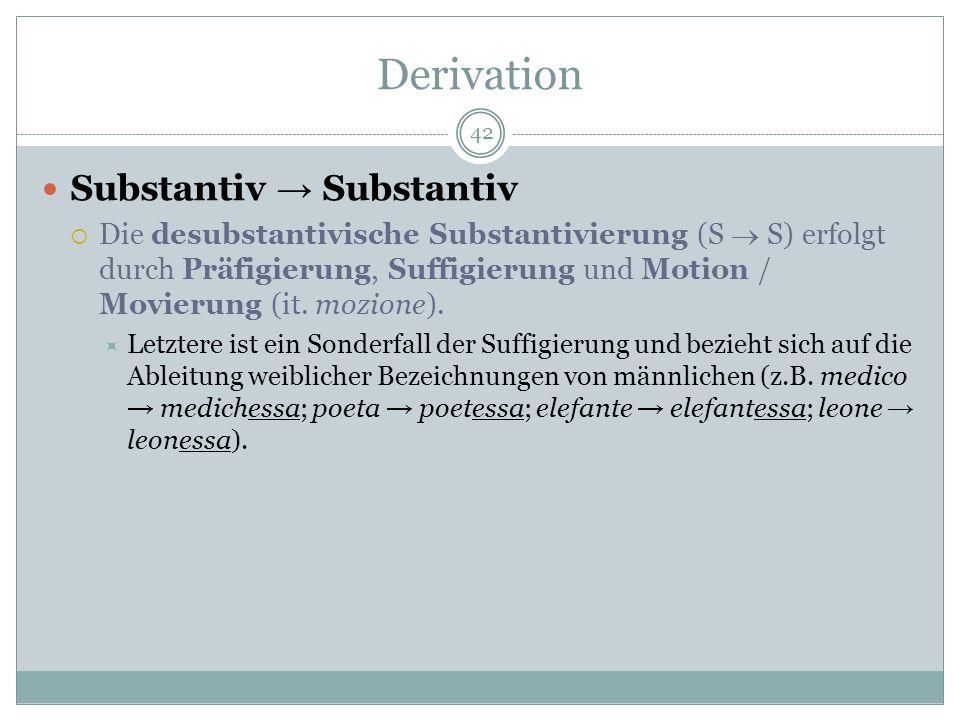 Derivation 42 Substantiv Substantiv Die desubstantivische Substantivierung (S S) erfolgt durch Präfigierung, Suffigierung und Motion / Movierung (it.