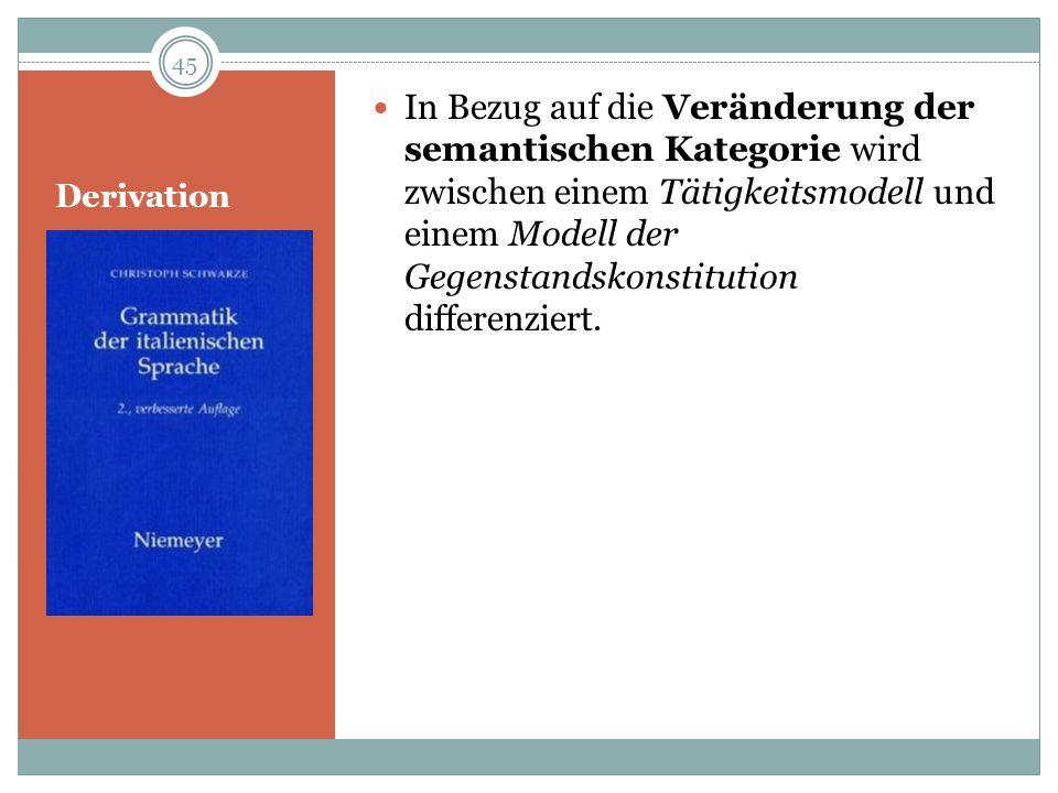 Derivation In Bezug auf die Veränderung der semantischen Kategorie wird zwischen einem Tätigkeitsmodell und einem Modell der Gegenstandskonstitution d