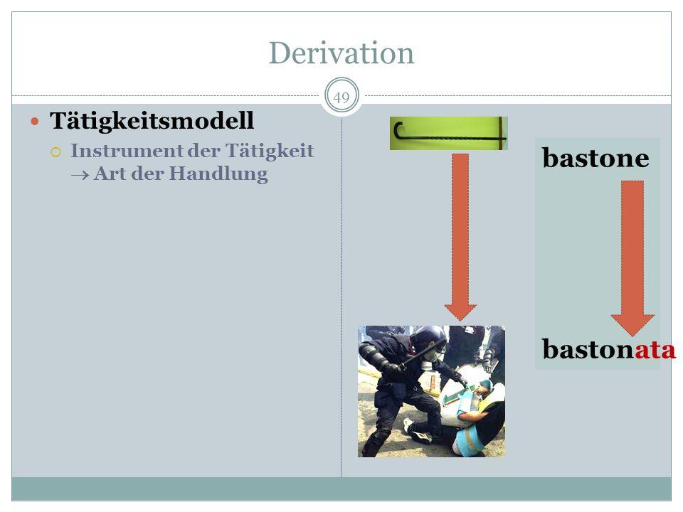Derivation 49 Tätigkeitsmodell Instrument der Tätigkeit Art der Handlung bastone bastonata